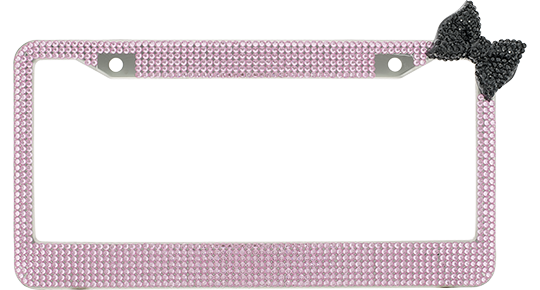 Pink Crystal License Plate Frame License Plate Frame With Black ...